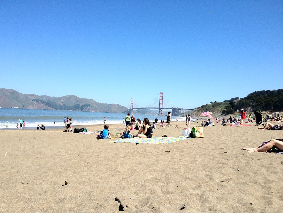 Beach with a view of the bridge