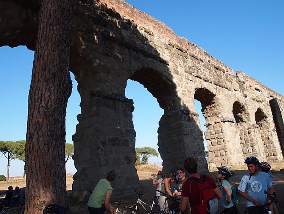 Cycling through Aqueduct park in Rome