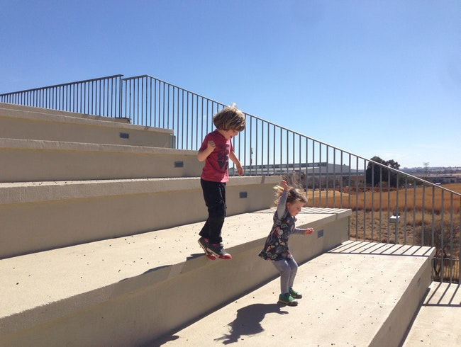 Jumping the gigantic stairs at the Apartheid Museum