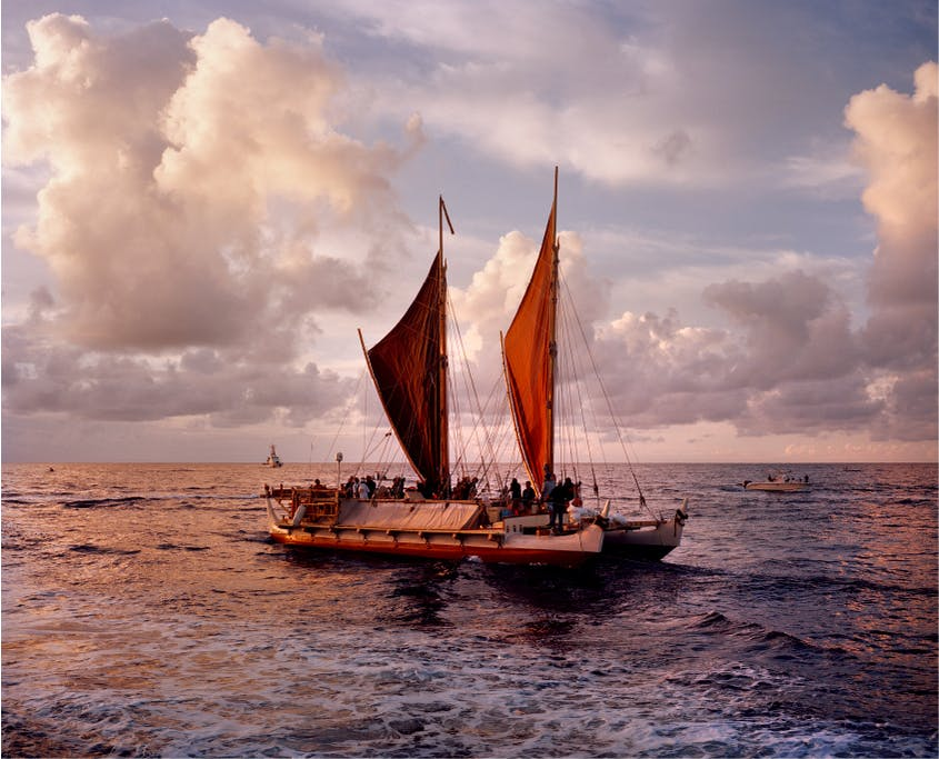 Hōkūle'a, a traditional voyaging canoe built in the 1970s.