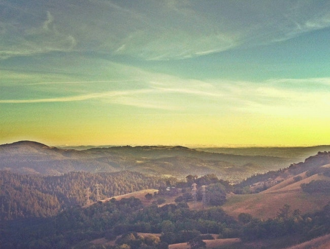 Sonoma County's Santa Rosa at sunset from Hood Mountain