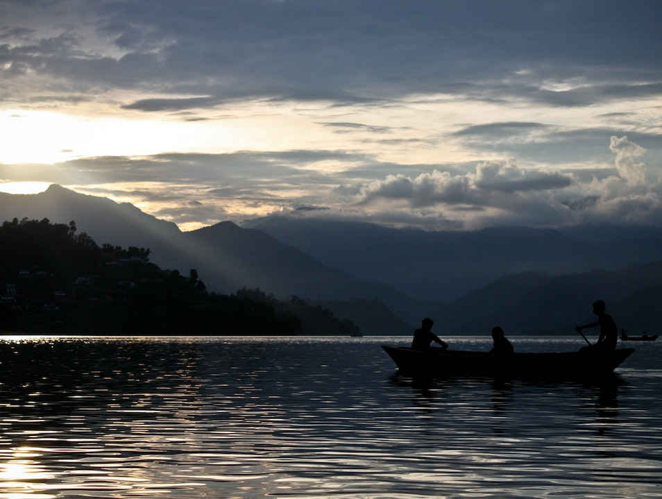 Sunset Canoe Ride in the Himalayas Pokhara  Nepal