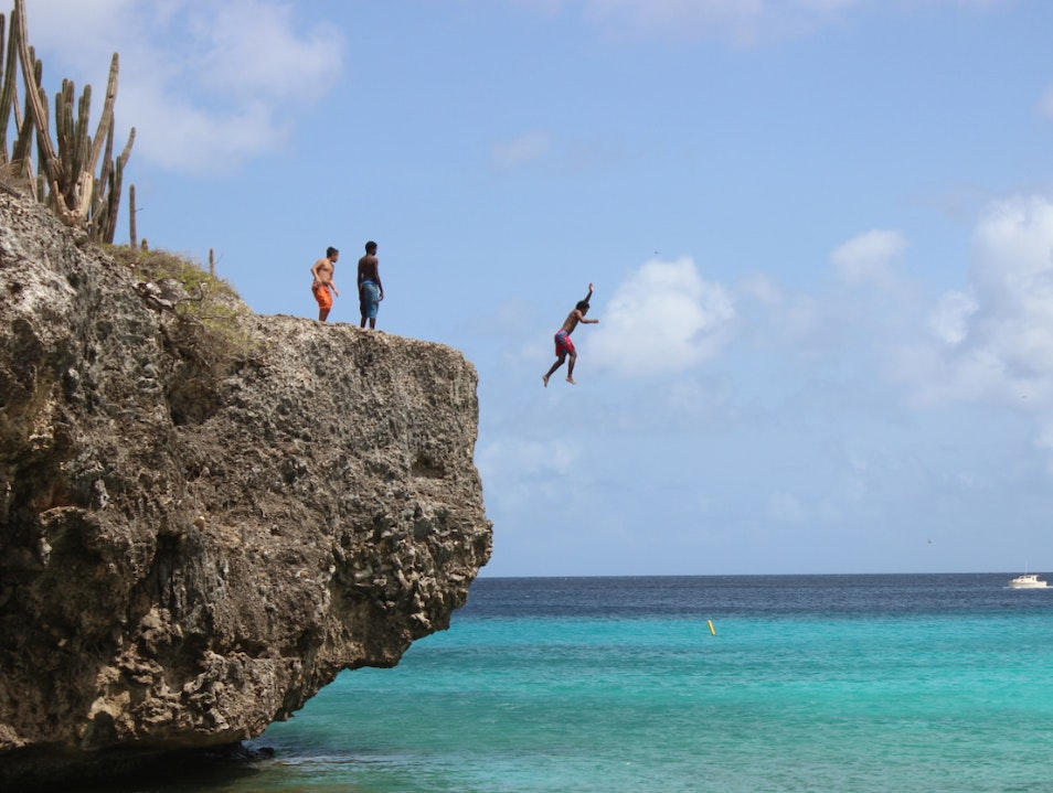 Go Cliff Jumping at Bonaire's Boca Slagbaai Washington-Slagbaai National Park  Caribbean Netherlands