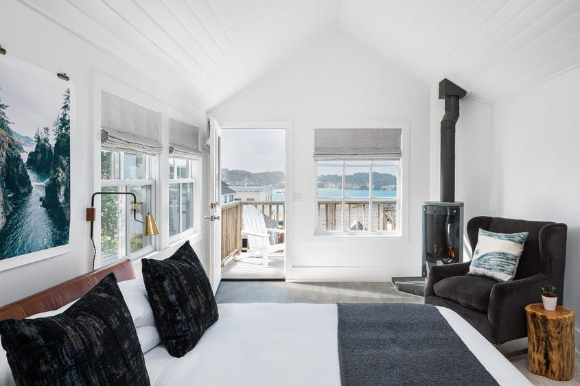 The grand king room at the JD House in downtown Mendocino offers full ocean views.