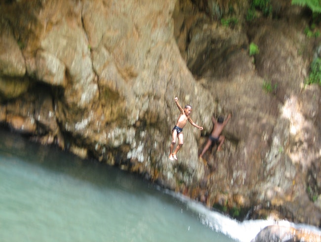 Cliff jumping in Fiji