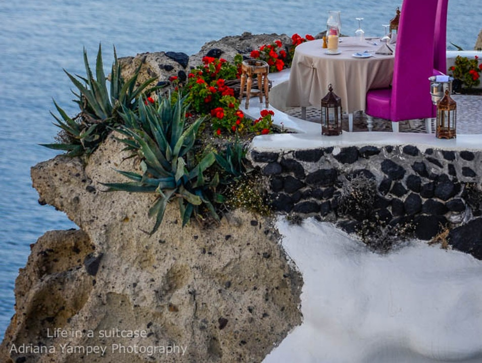 Intimate dinner  Oia  Greece
