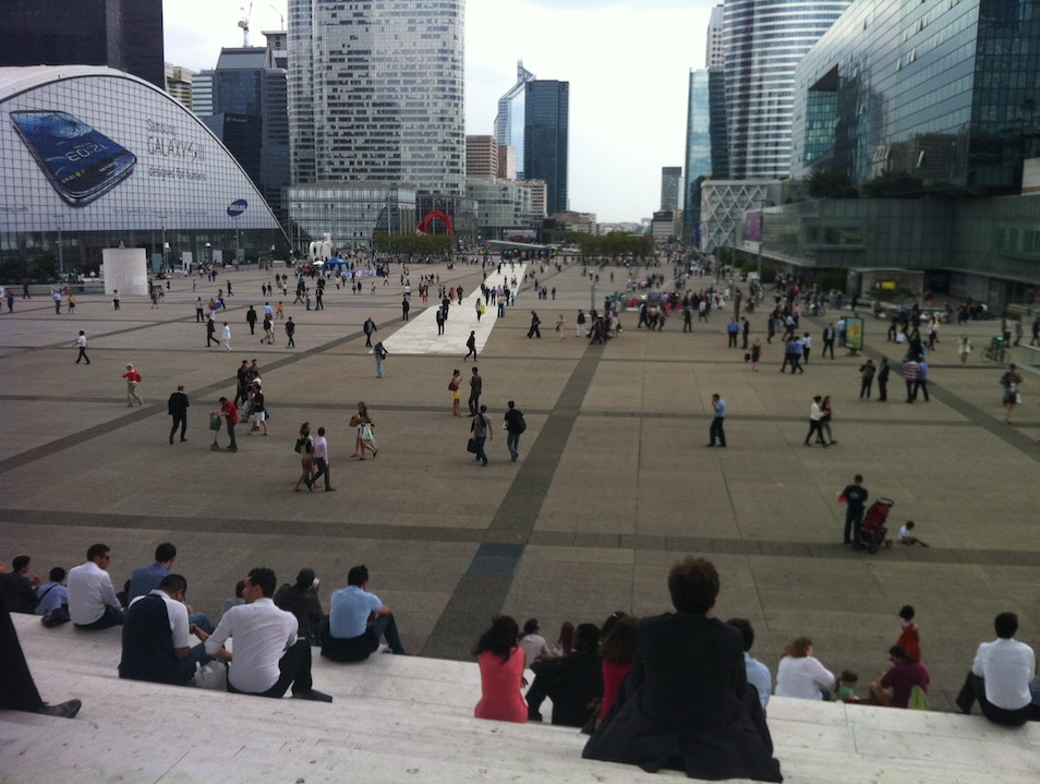 People watching from La Grande Arche Steps