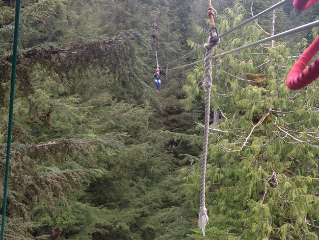 Zip lining Alaska's Giant Jungle Gym