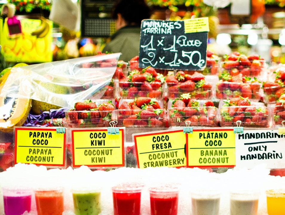 Fresh fruit and zumos at La Boqueria Barcelona  Spain