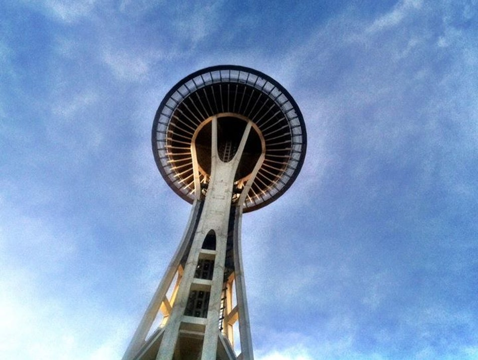 The Seattle Space needle from its underbelly Seattle Washington United States