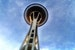 The Seattle Space needle from its underbelly