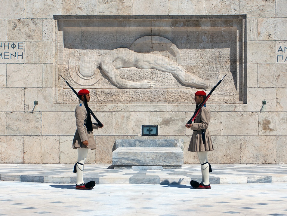 The Guards at the Tomb of the Unknown Soldier Athens  Greece
