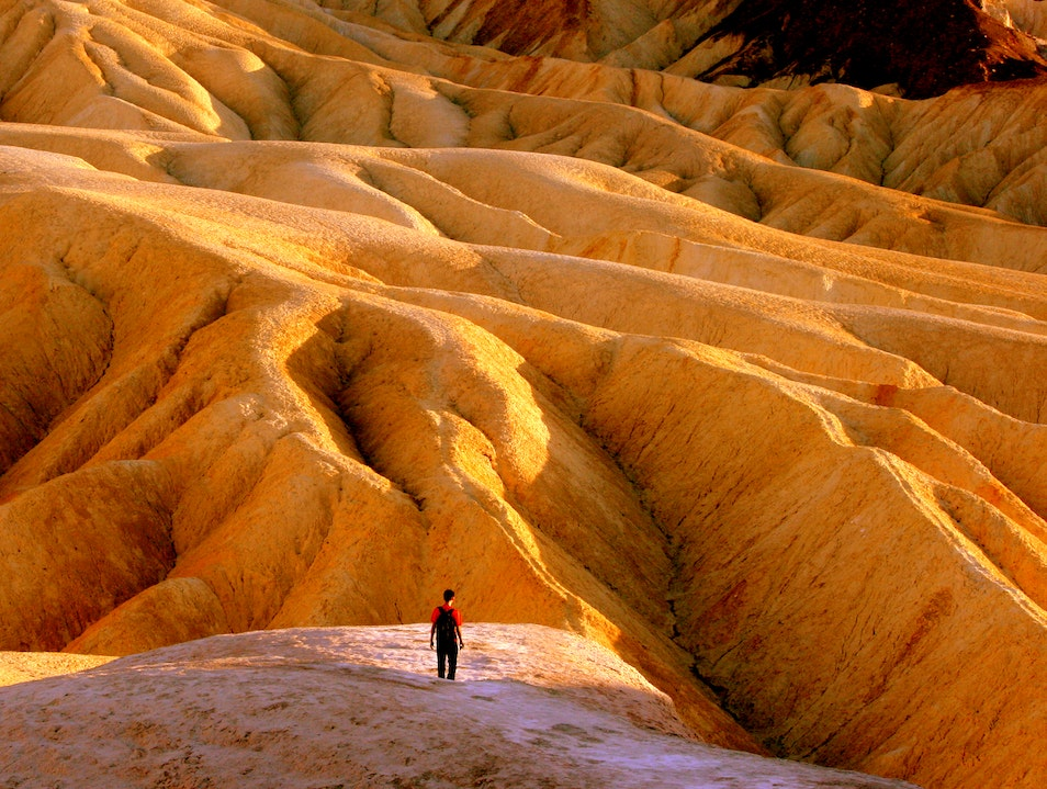 Catching sunset at Zabriskie Point DEATH VALLEY California United States