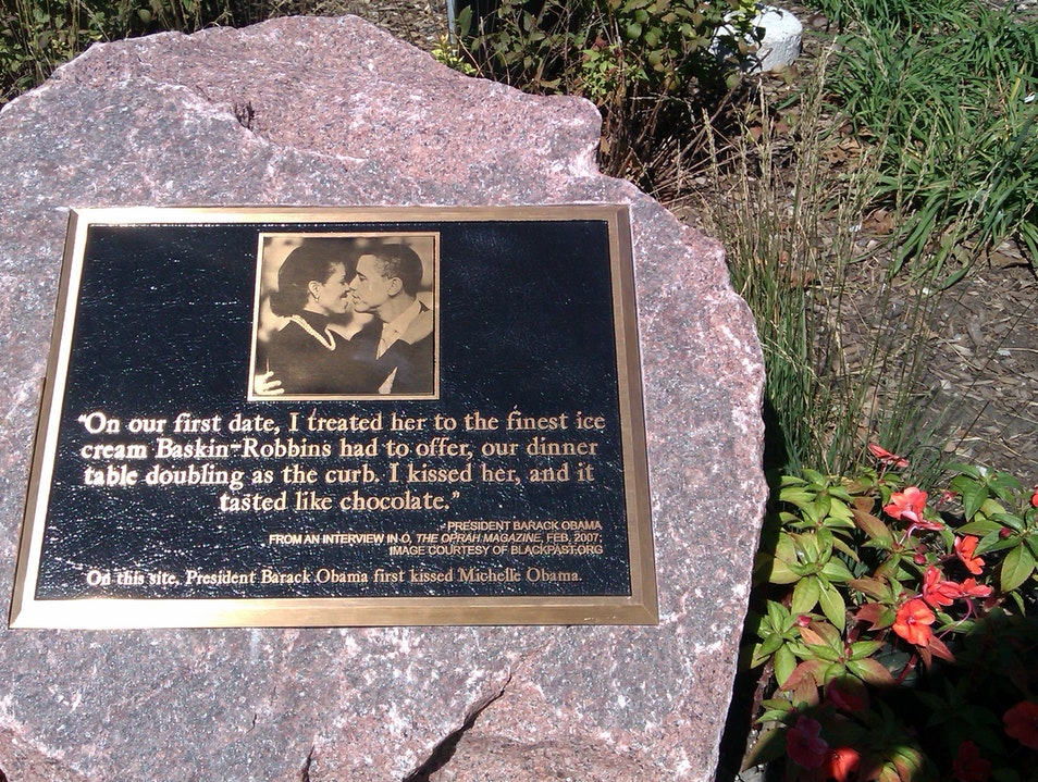 Obama Kissing Rock Chicago Hyde Park  Landmark Chicago Illinois United States