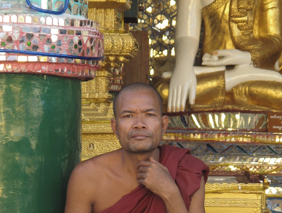 Monk at the Schwedegon pagoda. Rangoon  Myanmar