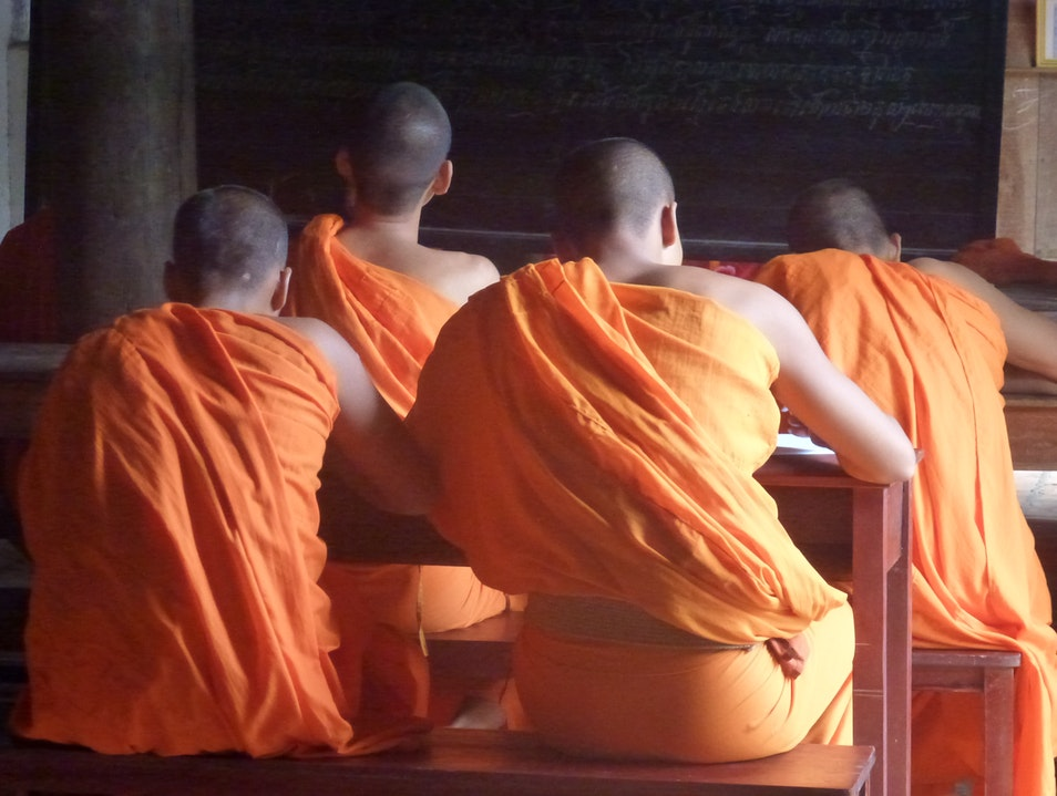 Young Monks at School in a Khmer Temple Complex