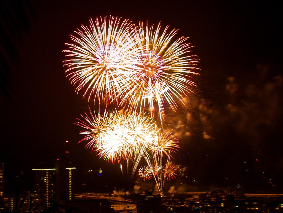 Stay Up Late to Enjoy Island Fire and Lights Honolulu Hawaii United States