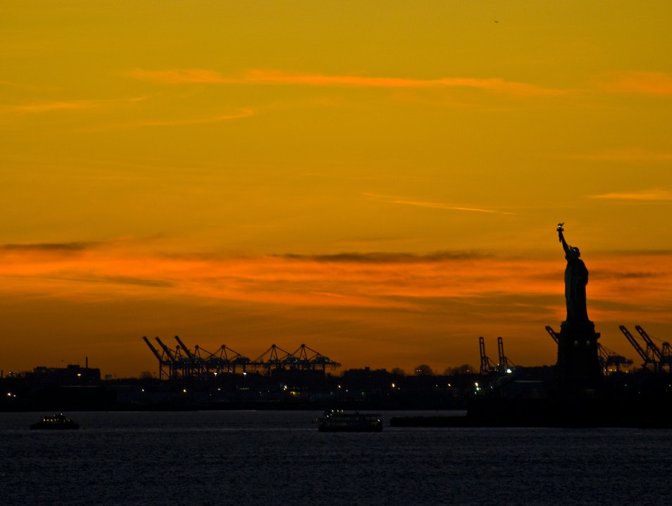 Green Lady in Yellow Sky New York New York United States
