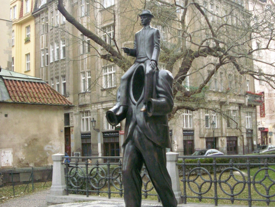 Search out the Monument to Kafka next to the Spanish Synagogue Prague  Czech Republic