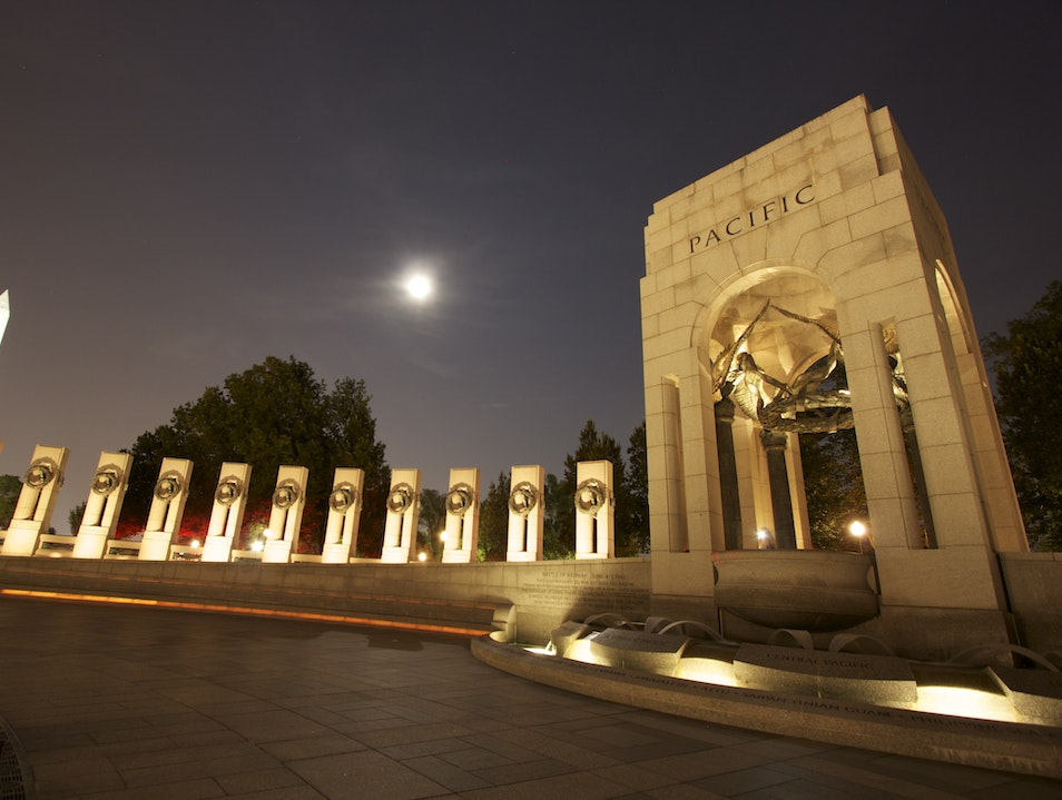 Moon over WWII Veterans Memorial Washington, D.C. District of Columbia United States