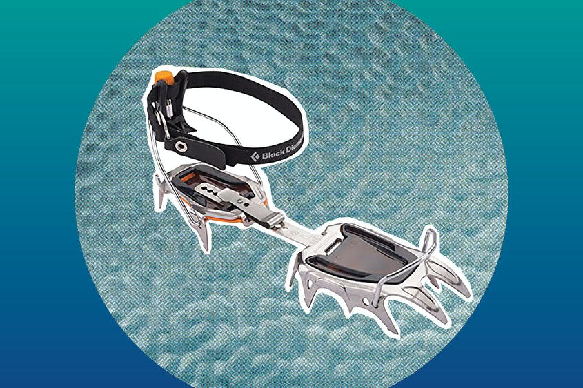 Lightweight strap-on crampons can give you extra traction while hiking on snow.