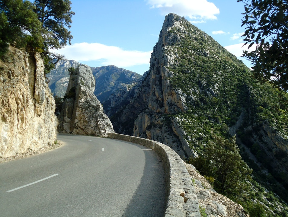 Driving on the canyon edge in Alpes-de-Haute-Provence Rougon  France