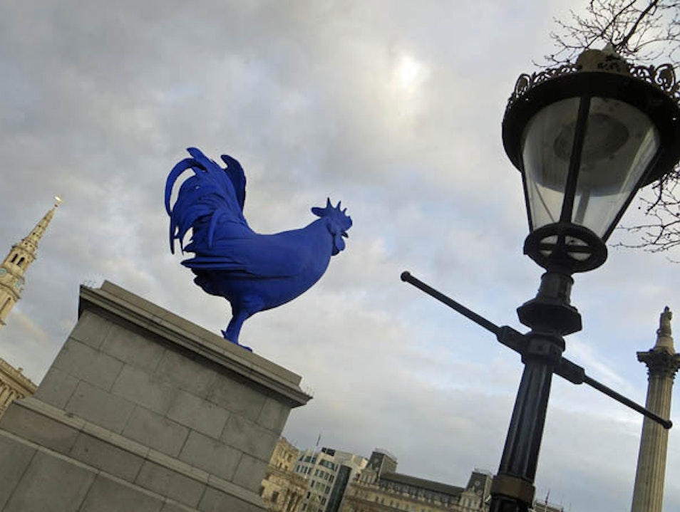 Big Blue Cock at Trafalgar Square London  United Kingdom