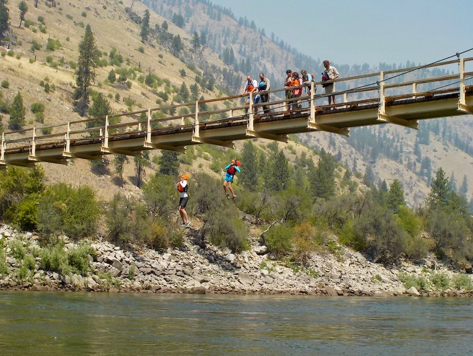 Jumping off a bridge Salmon Idaho United States