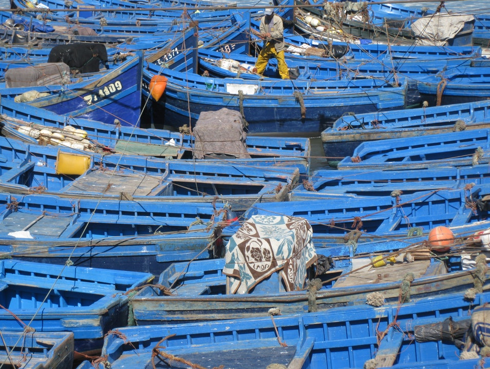 Boats of Blue Essaouira  Morocco