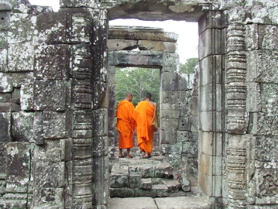Monks at Angkor Thom Siem Reap  Cambodia