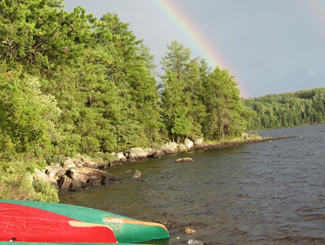 Double Rainbow in Boundary Waters