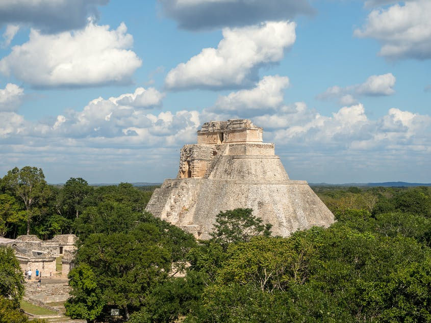 The pyramids at Uxmal were built in the decorative Puuc style.