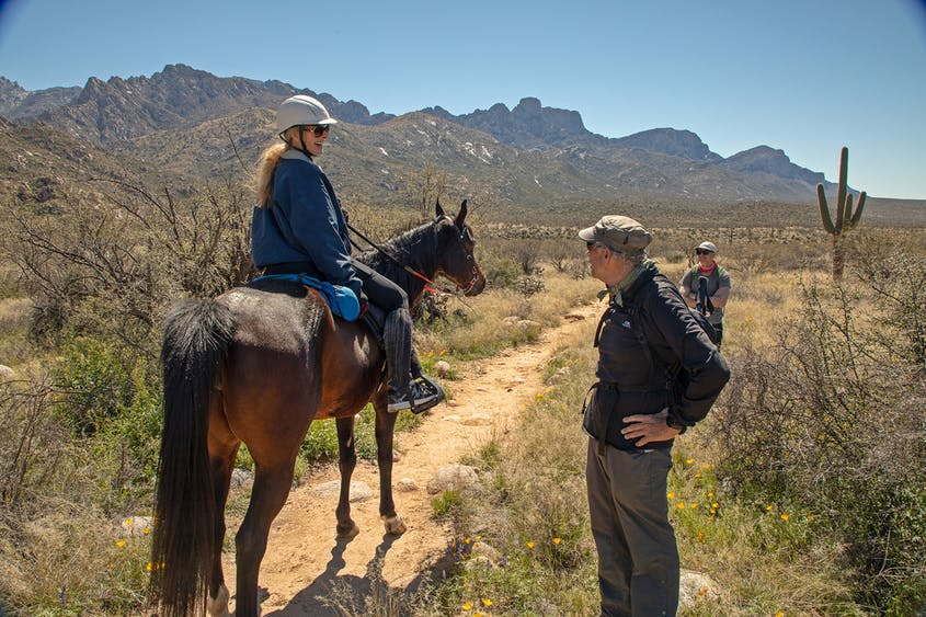 Playing cowboy with a horseback ride through the desert stimulates the senses with an authentic experience of history.