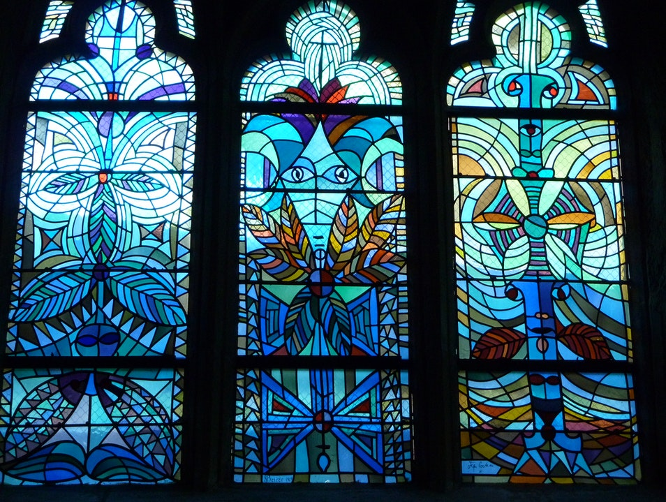An Astounding Suite of Stained Glass Windows by Jean Cocteau in a Small Romanesque Church in Metz, France Metz  France