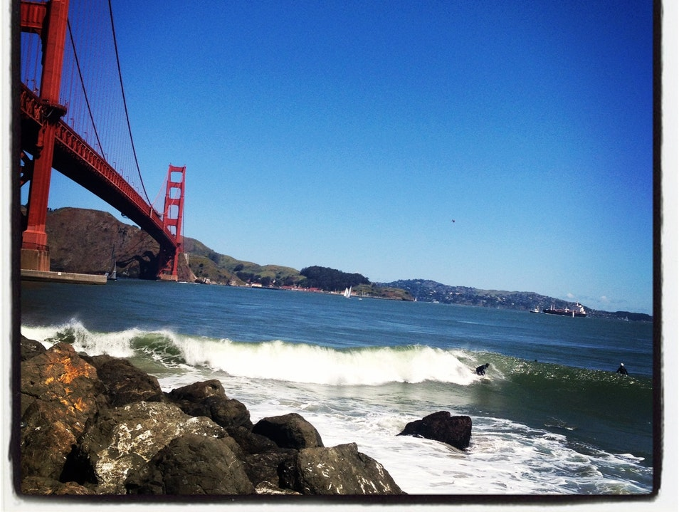 Surf under the world's most famous bridge San Francisco California United States
