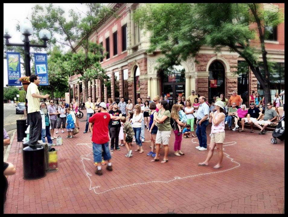 Performers on Pearl St. Pedestrian Mall in Boulder Boulder Colorado United States