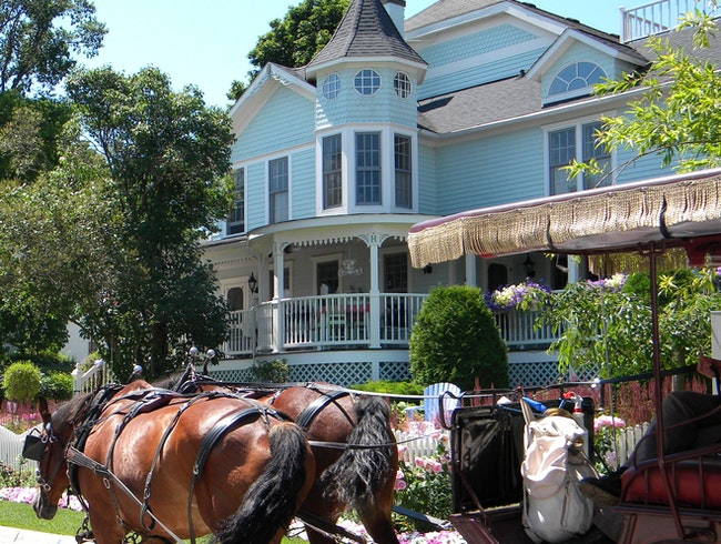 Horses, buggy, and pretty house