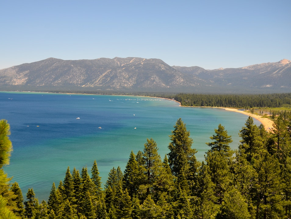 Turquoise waters of Lake Tahoe Tahoe City California United States