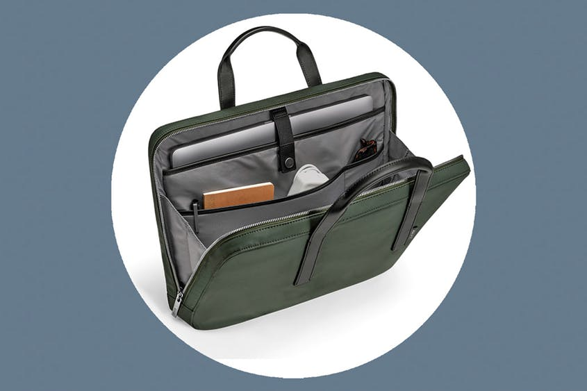 The Laptop Bag can hold computers up to 15 inches and is available in Black and Green.