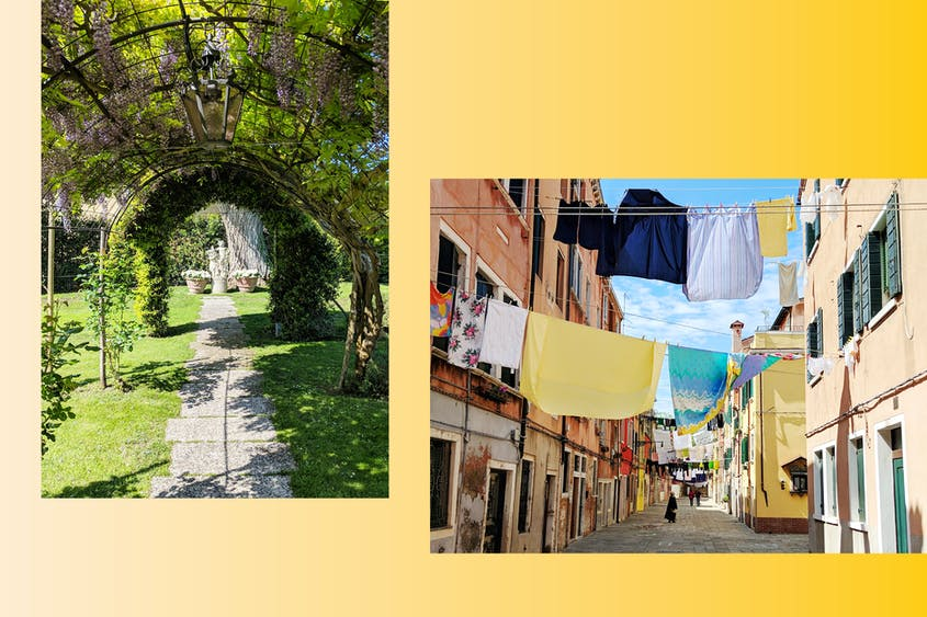 Left: Gardens at the Belmond Hotel Cipriani; Right: Laundry hangs above the streets in Venice.