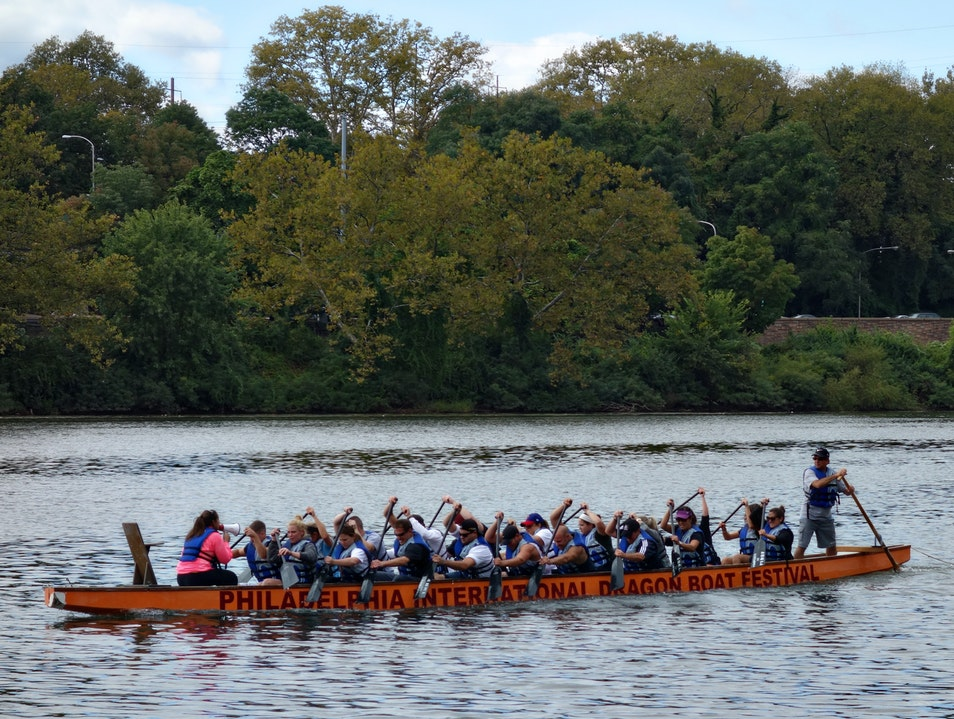 Exciting water sports at the Dragon Boat Festival Philadelphia Pennsylvania United States