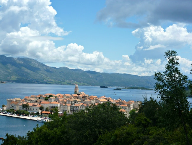 Wander up and look back on the entrancing Korcula Old Town