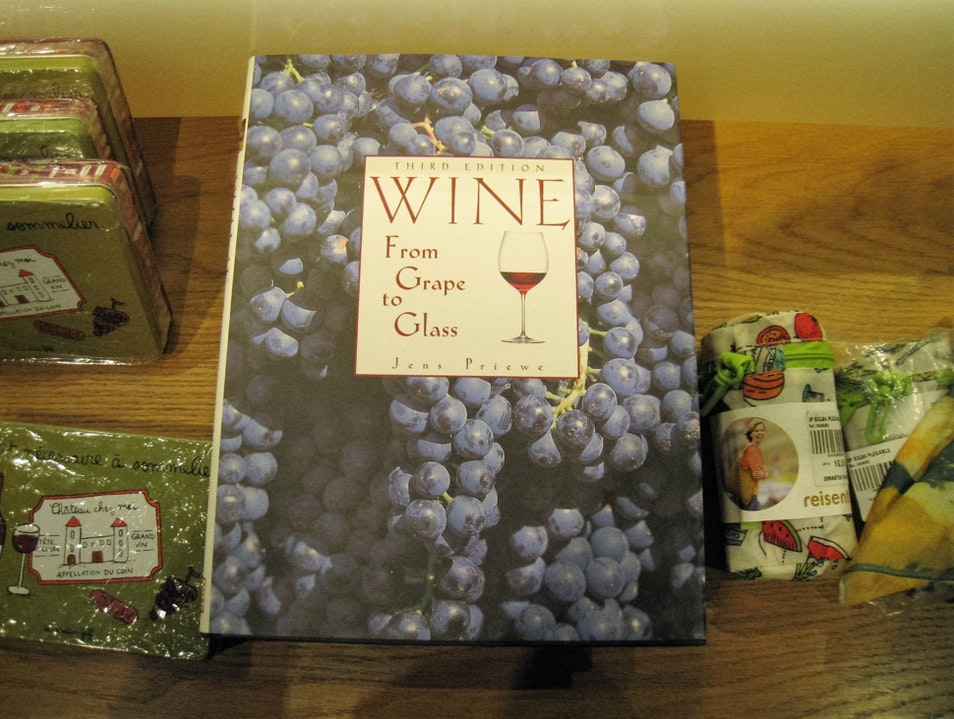 The gift shop has various wine themed books and objects including Vivanco produced wines Briones  Spain