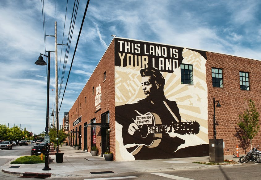 Outside the Woody Guthrie Center, which holds the artist's archives