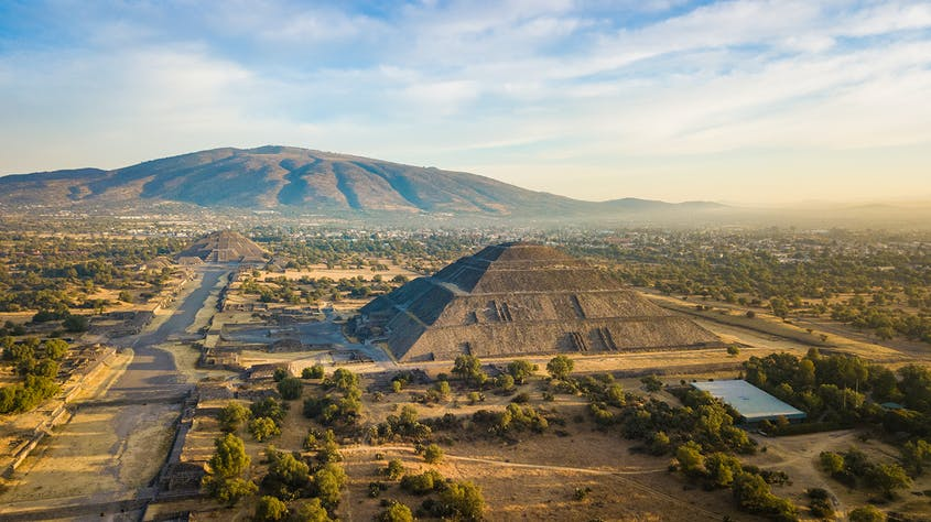 The sprawling city of Teotihuacan is dominated by two massive pyramids.