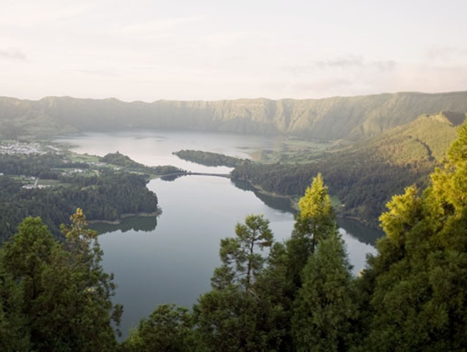 Sunset over the 2 lagoons of Sete Cidades Ginetes  Portugal