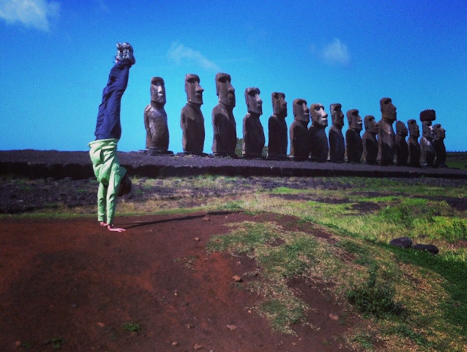 Handstand with the Moai Hanga Roa  Chile