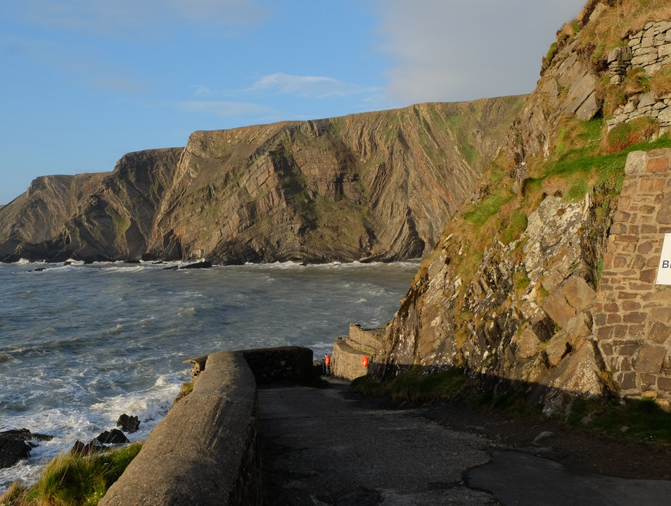 Dramatic Cliff Scenery at Hartland Quay Torridge District  United Kingdom