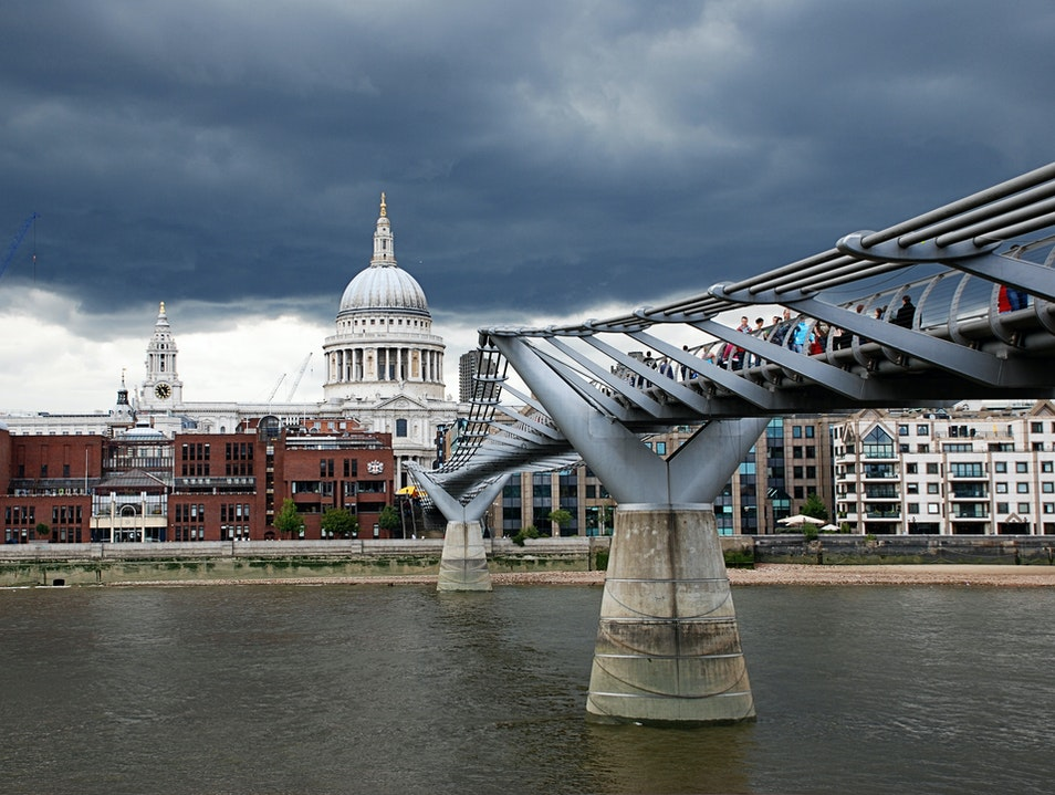 Modernity & History: St. Paul's Cathedral and Millennium Bridge London  United Kingdom