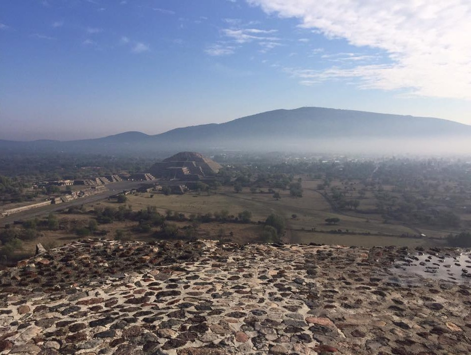 View from the Pyramid of the Sun, Overlooking the Pyramid of the Moon State of Mexico  Mexico
